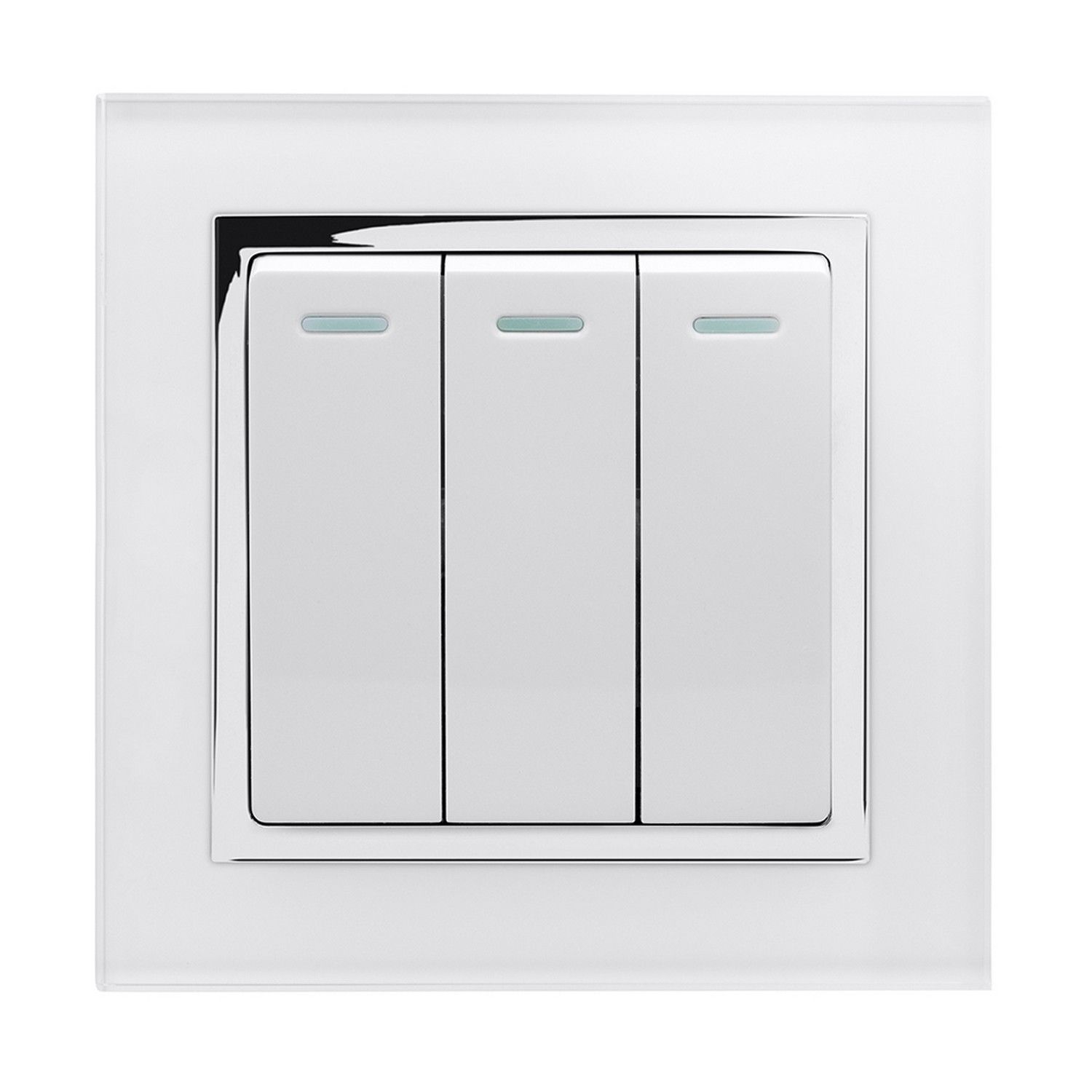 RetroTouch 3 Gang 1 or 2 Way 10A Rocker Light Switch White Glass CT ...